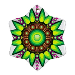 Design Elements Star Flower Floral Circle Snowflake Ornament (two Sides) by Alisyart