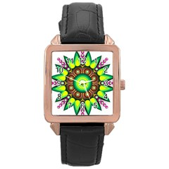 Design Elements Star Flower Floral Circle Rose Gold Leather Watch  by Alisyart