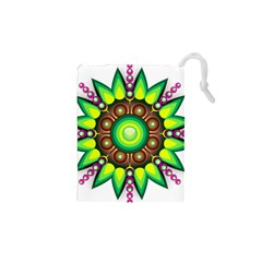 Design Elements Star Flower Floral Circle Drawstring Pouches (xs)  by Alisyart