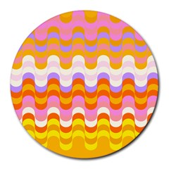 Dna Early Childhood Wave Chevron Rainbow Color Round Mousepads by Alisyart