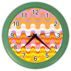 Dna Early Childhood Wave Chevron Rainbow Color Color Wall Clocks by Alisyart