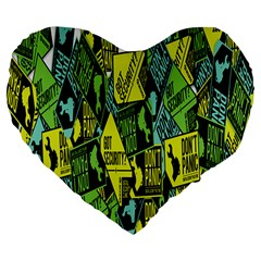 Don t Panic Digital Security Helpline Access Large 19  Premium Flano Heart Shape Cushions by Alisyart