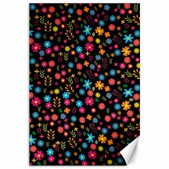 Floral Pattern Canvas 12  X 18   by Valentinaart