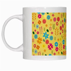 Floral Pattern White Mugs by Valentinaart