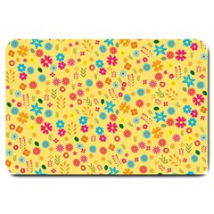 Floral Pattern Large Doormat  by Valentinaart