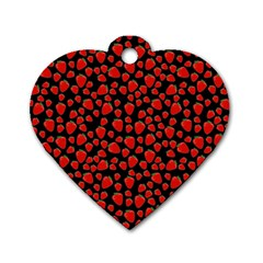 Strawberry  Pattern Dog Tag Heart (one Side) by Valentinaart
