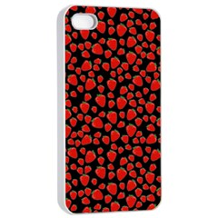 Strawberry  Pattern Apple Iphone 4/4s Seamless Case (white) by Valentinaart