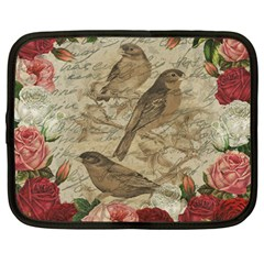 Vintage Birds Netbook Case (large) by Valentinaart