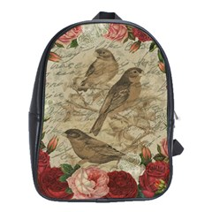 Vintage Birds School Bags (xl)  by Valentinaart