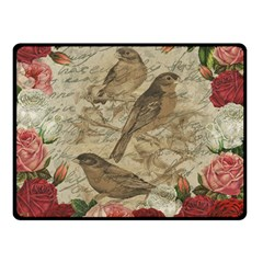 Vintage Birds Double Sided Fleece Blanket (small)  by Valentinaart