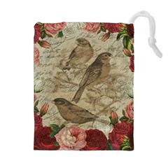 Vintage Birds Drawstring Pouches (extra Large) by Valentinaart