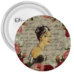 Vintage Girl 3  Buttons by Valentinaart