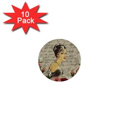Vintage Girl 1  Mini Buttons (10 Pack)  by Valentinaart