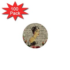 Vintage Girl 1  Mini Buttons (100 Pack)  by Valentinaart