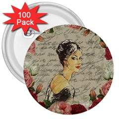 Vintage Girl 3  Buttons (100 Pack)  by Valentinaart