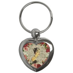 Vintage Girl Key Chains (heart)  by Valentinaart