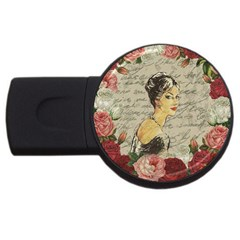 Vintage Girl Usb Flash Drive Round (2 Gb) by Valentinaart