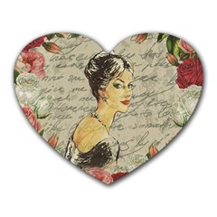 Vintage Girl Heart Mousepads by Valentinaart