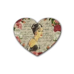 Vintage Girl Rubber Coaster (heart)  by Valentinaart