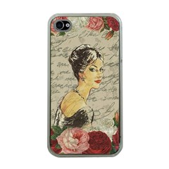 Vintage Girl Apple Iphone 4 Case (clear) by Valentinaart