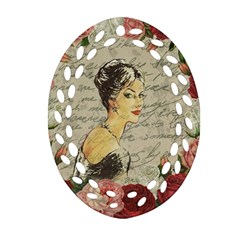 Vintage Girl Ornament (oval Filigree) by Valentinaart