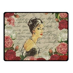 Vintage Girl Double Sided Fleece Blanket (small)  by Valentinaart