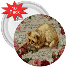 Vintage Kitten  3  Buttons (10 Pack)  by Valentinaart