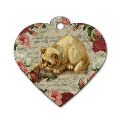 Vintage Kitten  Dog Tag Heart (two Sides) by Valentinaart