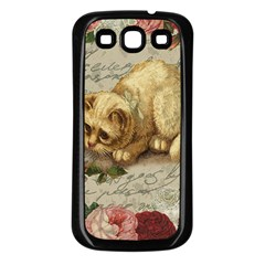 Vintage Kitten  Samsung Galaxy S3 Back Case (black) by Valentinaart