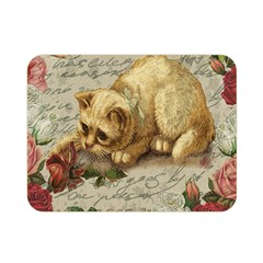 Vintage Kitten  Double Sided Flano Blanket (mini)  by Valentinaart