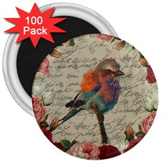 Vintage Bird 3  Magnets (100 Pack) by Valentinaart