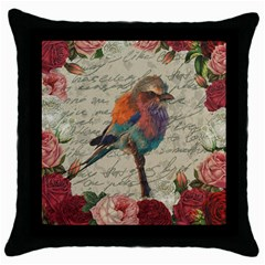 Vintage Bird Throw Pillow Case (black) by Valentinaart
