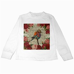 Vintage Bird Kids Long Sleeve T Shirts by Valentinaart