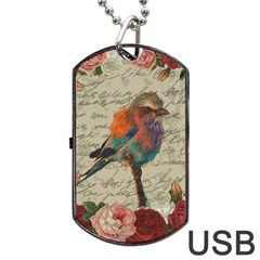 Vintage Bird Dog Tag Usb Flash (two Sides) by Valentinaart