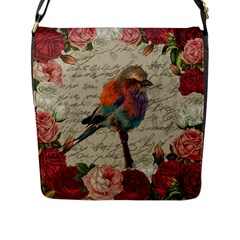 Vintage Bird Flap Messenger Bag (l)  by Valentinaart
