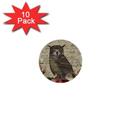 Vintage owl 1  Mini Buttons (10 pack)