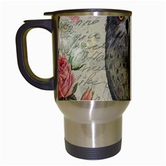 Vintage Owl Travel Mugs (white) by Valentinaart