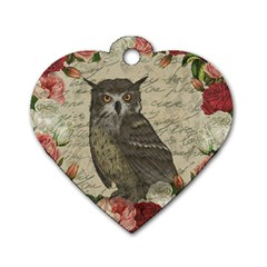 Vintage Owl Dog Tag Heart (one Side) by Valentinaart