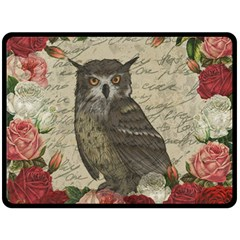 Vintage Owl Fleece Blanket (large)  by Valentinaart