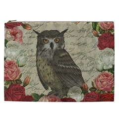 Vintage Owl Cosmetic Bag (xxl)  by Valentinaart