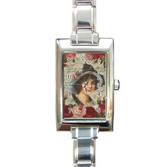 Vintage Girl Rectangle Italian Charm Watch by Valentinaart