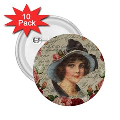 Vintage Girl 2 25  Buttons (10 Pack)  by Valentinaart
