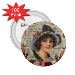 Vintage Girl 2 25  Buttons (100 Pack)  by Valentinaart