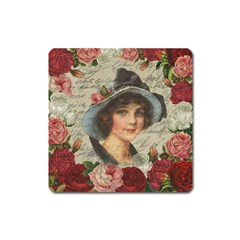 Vintage Girl Square Magnet by Valentinaart