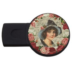 Vintage Girl Usb Flash Drive Round (4 Gb) by Valentinaart