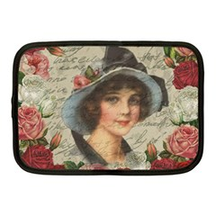 Vintage Girl Netbook Case (medium)  by Valentinaart