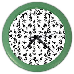 Seahorse Pattern Color Wall Clocks by Valentinaart