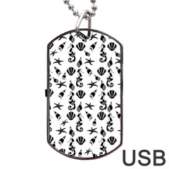 Seahorse Pattern Dog Tag Usb Flash (two Sides) by Valentinaart
