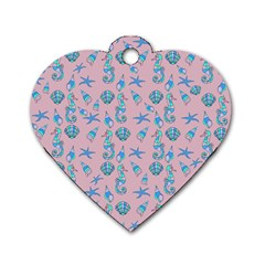 Seahorse Pattern Dog Tag Heart (two Sides) by Valentinaart
