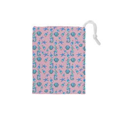 Seahorse Pattern Drawstring Pouches (small)  by Valentinaart